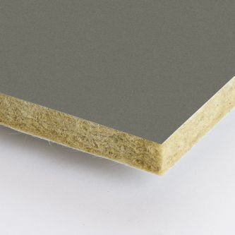 Grijze Rockfon Clay 1200x1200x25 mm inleg plafondplaten